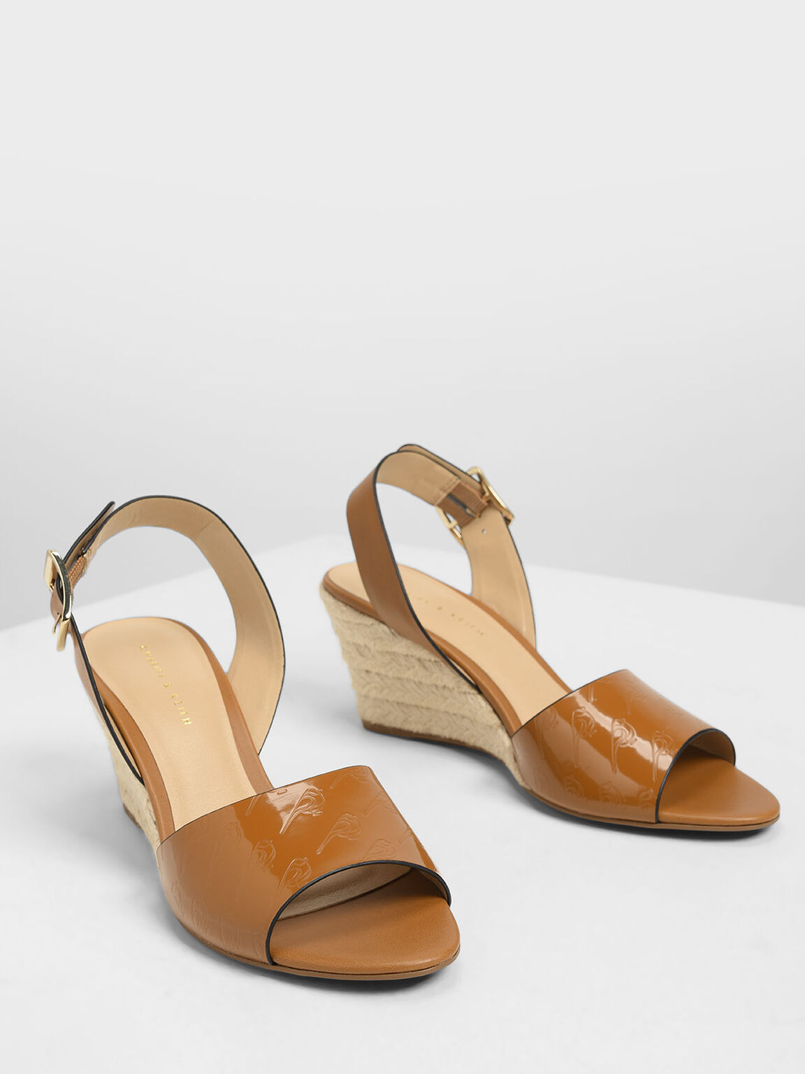 Chunky Buckle Espadrille Wedges, Cognac, hi-res