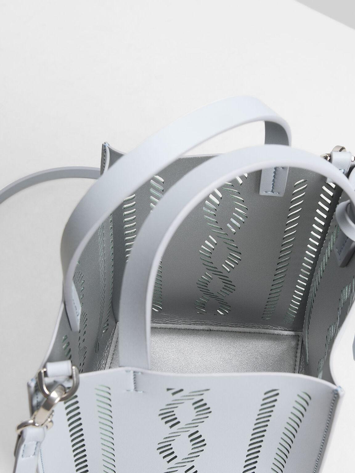 Laser-Cut Bucket Bag, Light Blue, hi-res