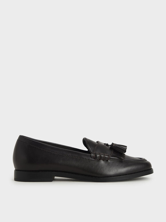 Tassel Penny Loafers, Dark Brown, hi-res