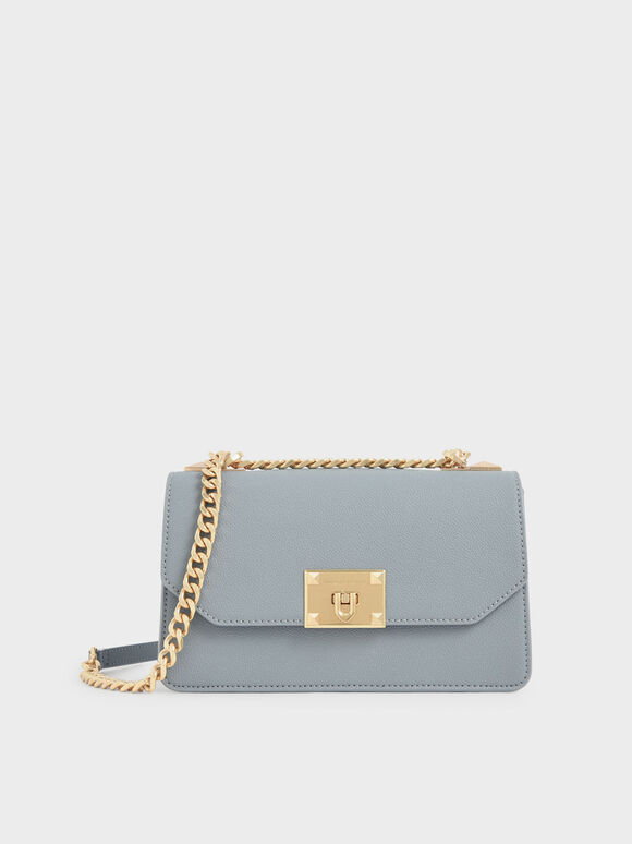 Classic Push-Lock Crossbody Bag, Steel Blue, hi-res