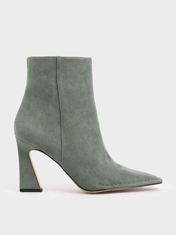 Textured Sculptural Heel Ankle Boots, Sage Green, hi-res