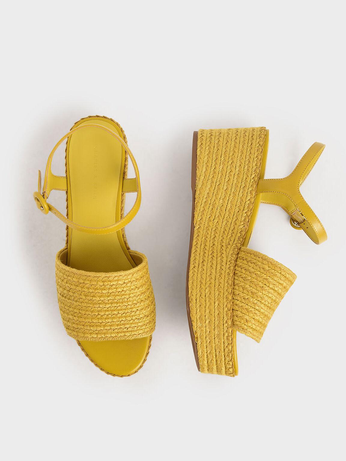Espadrille Platform Sandals, Yellow, hi-res