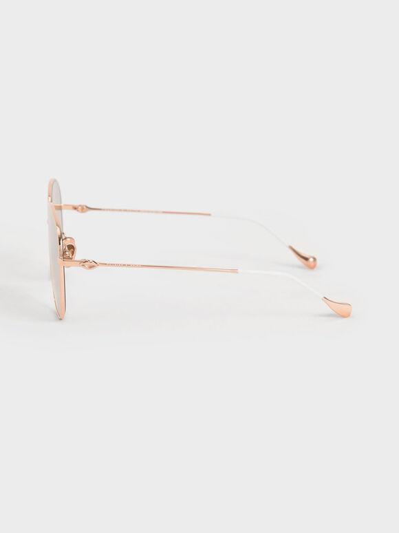 Aviator Sunglasses, Rose Gold, hi-res