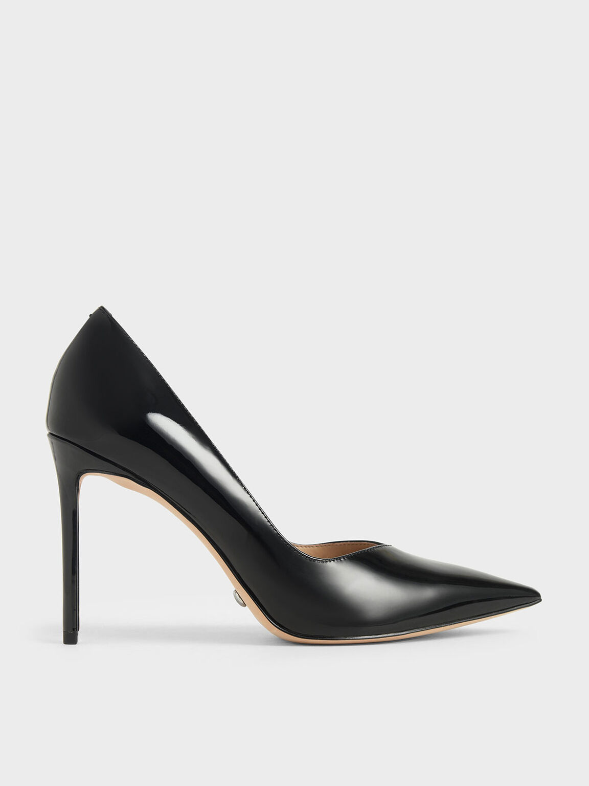 Patent Leather Pointed Toe Pumps, Black, hi-res