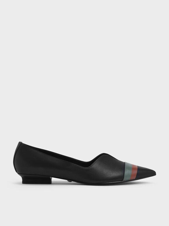 Striped Leather Ballerina Flats, Black, hi-res
