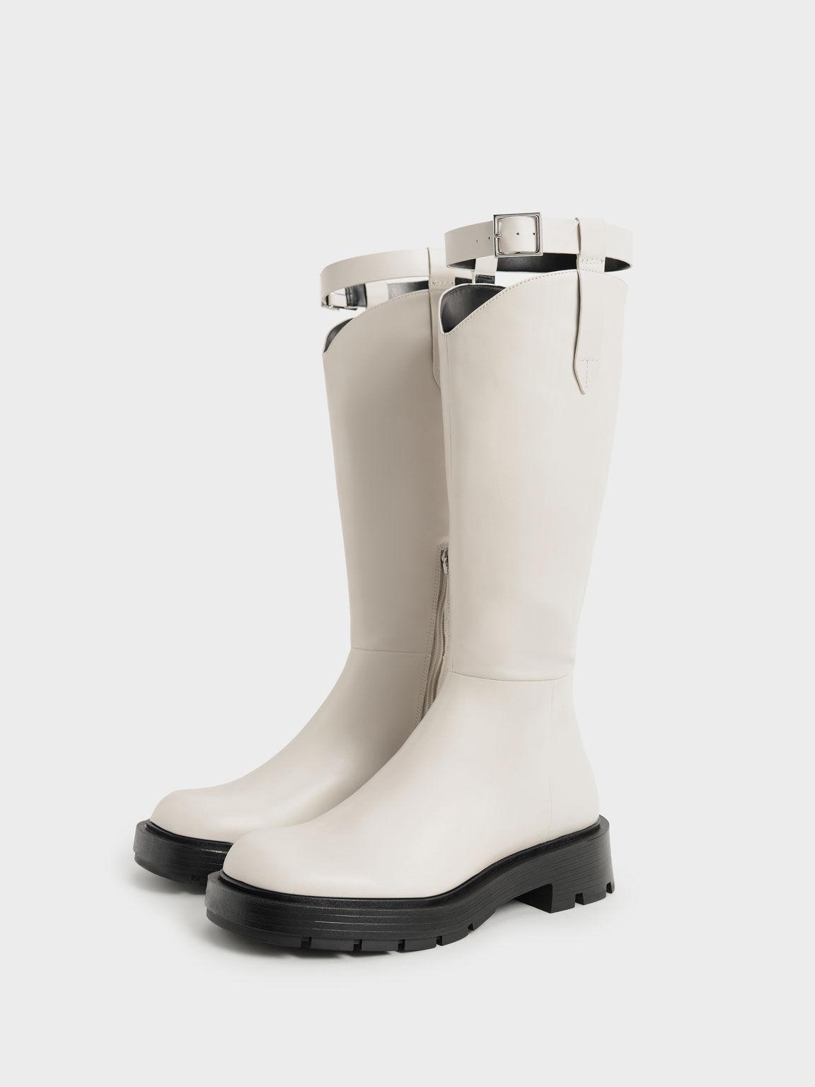 Buckled Knee Boots, Chalk, hi-res