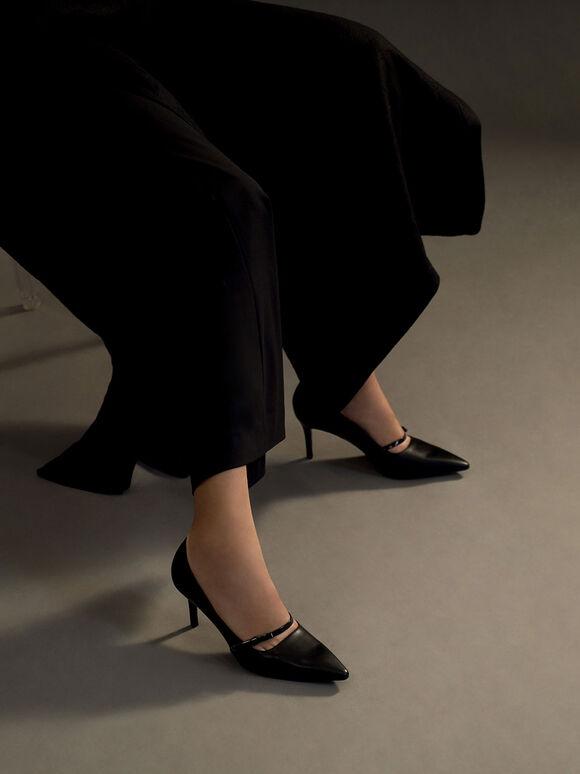 Mary Jane Stiletto Heel Court Shoes, Black, hi-res