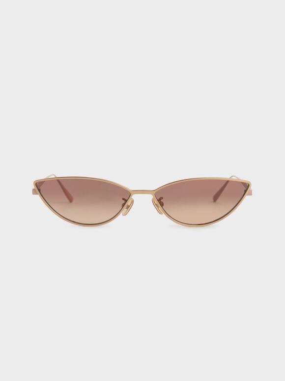 Tinted Cat-Eye Sunglasses, Rose Gold, hi-res