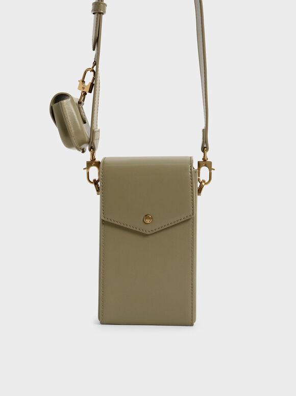 Elongated Crossbody Bag, Olive, hi-res