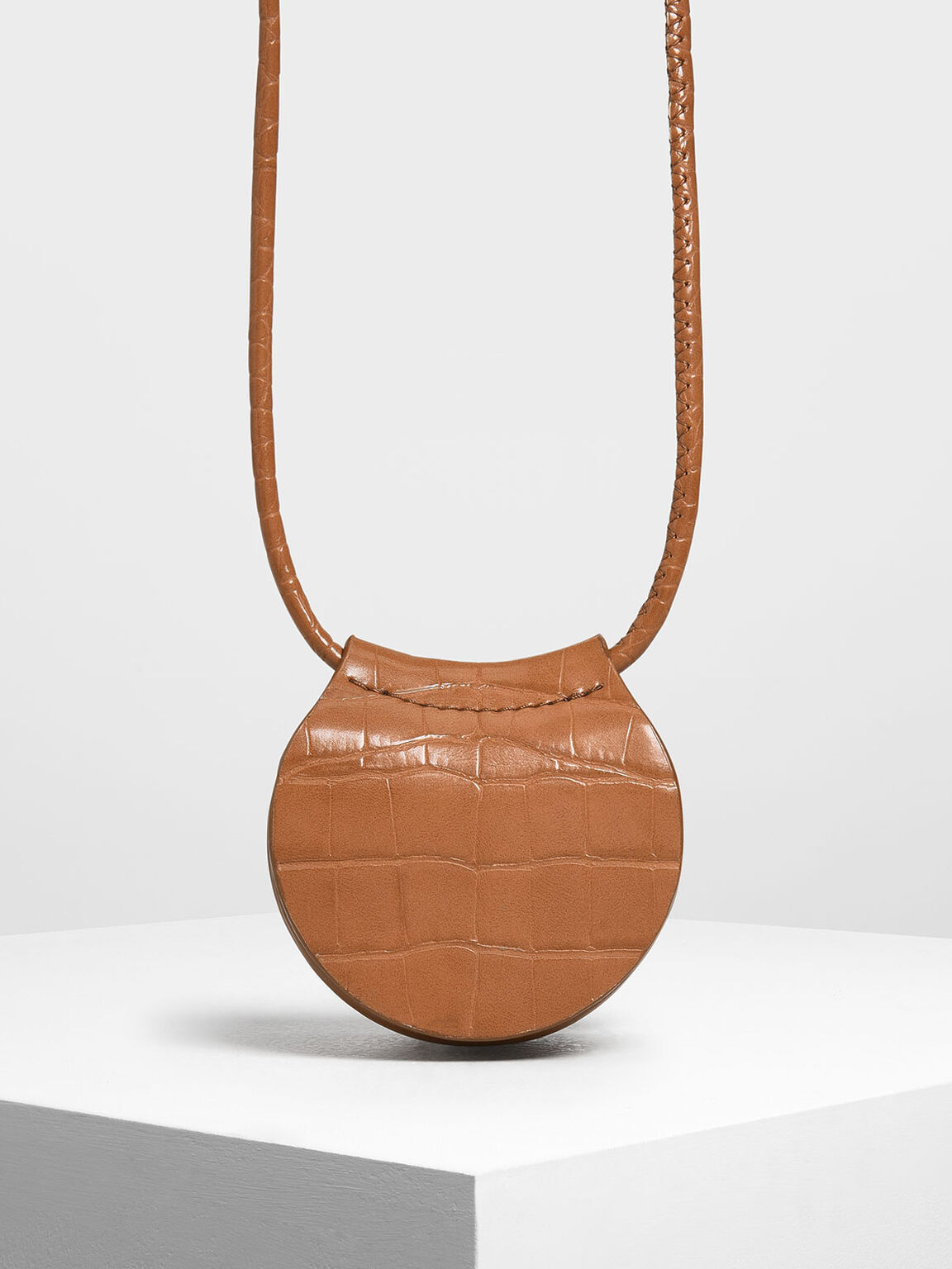 Croc-Effect Necklace Bag, Tan, hi-res