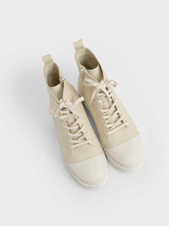 Canvas High Top Sneakers, Chalk, hi-res