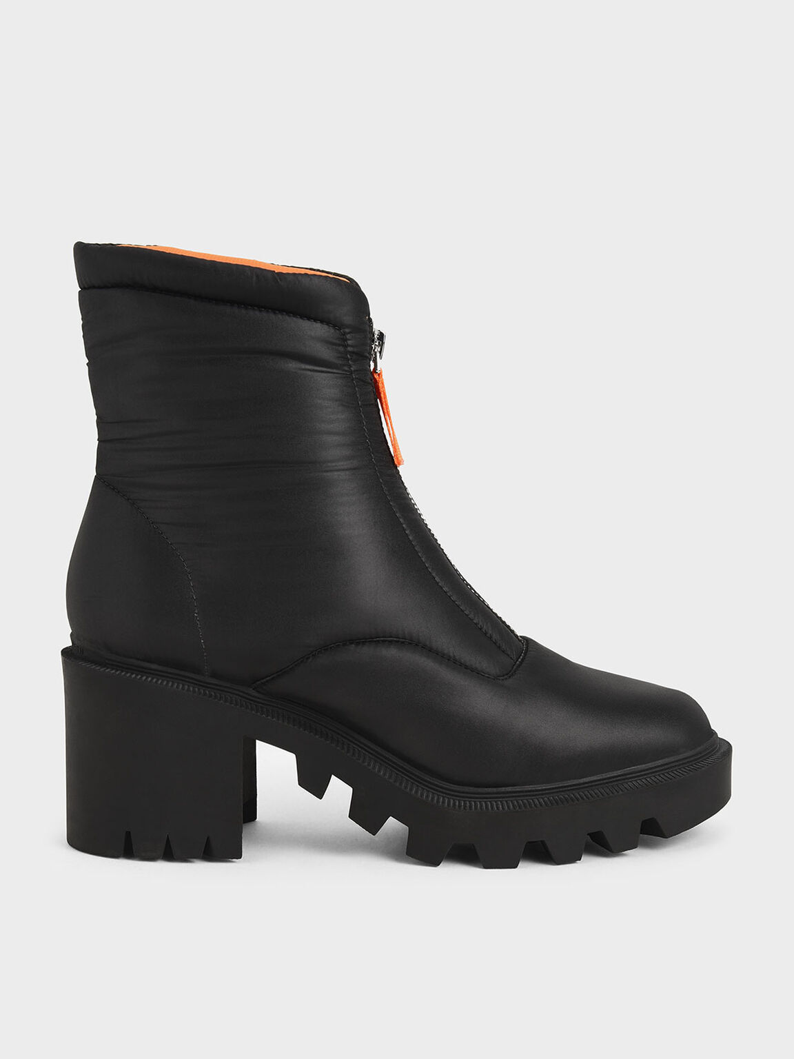 Nylon Front Zip Ankle Boots, Black, hi-res