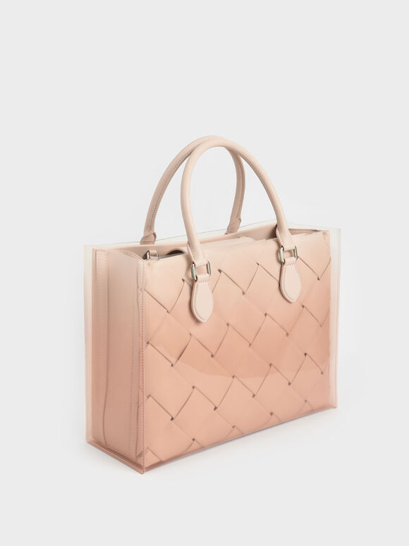 Woven Double Top Handle Bag, Light Pink, hi-res