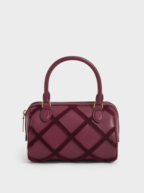 Criss-Cross Pattern Top Handle Bag, Burgundy, hi-res