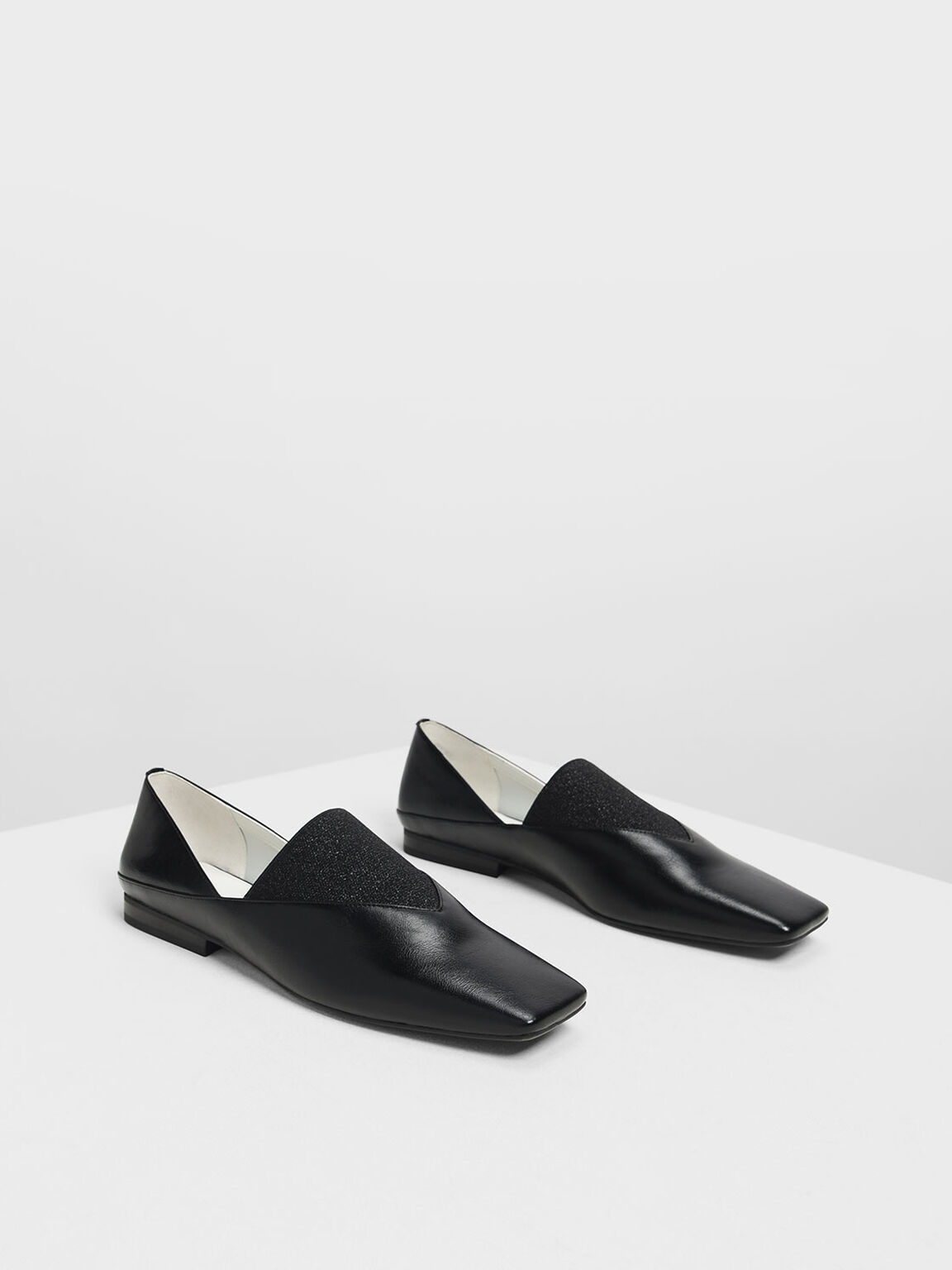 V Top Square Toe Flats, Black, hi-res