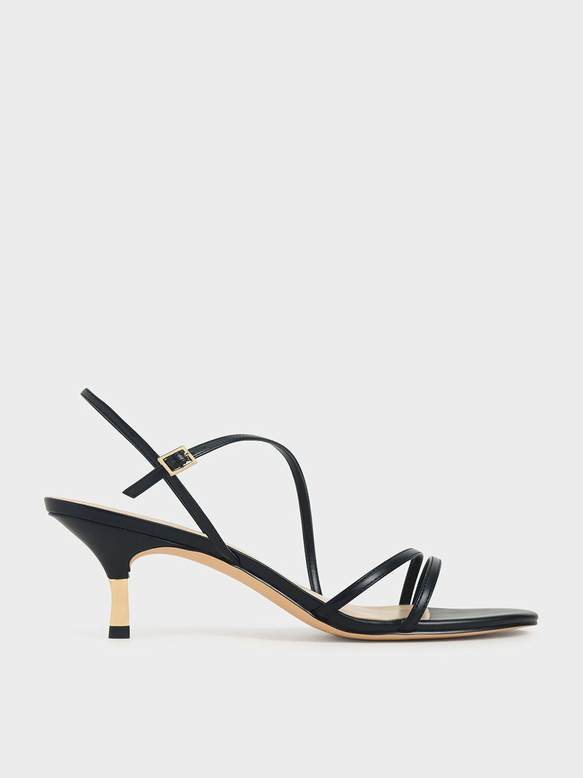 Strappy Metallic Heel Sandals, Black, hi-res