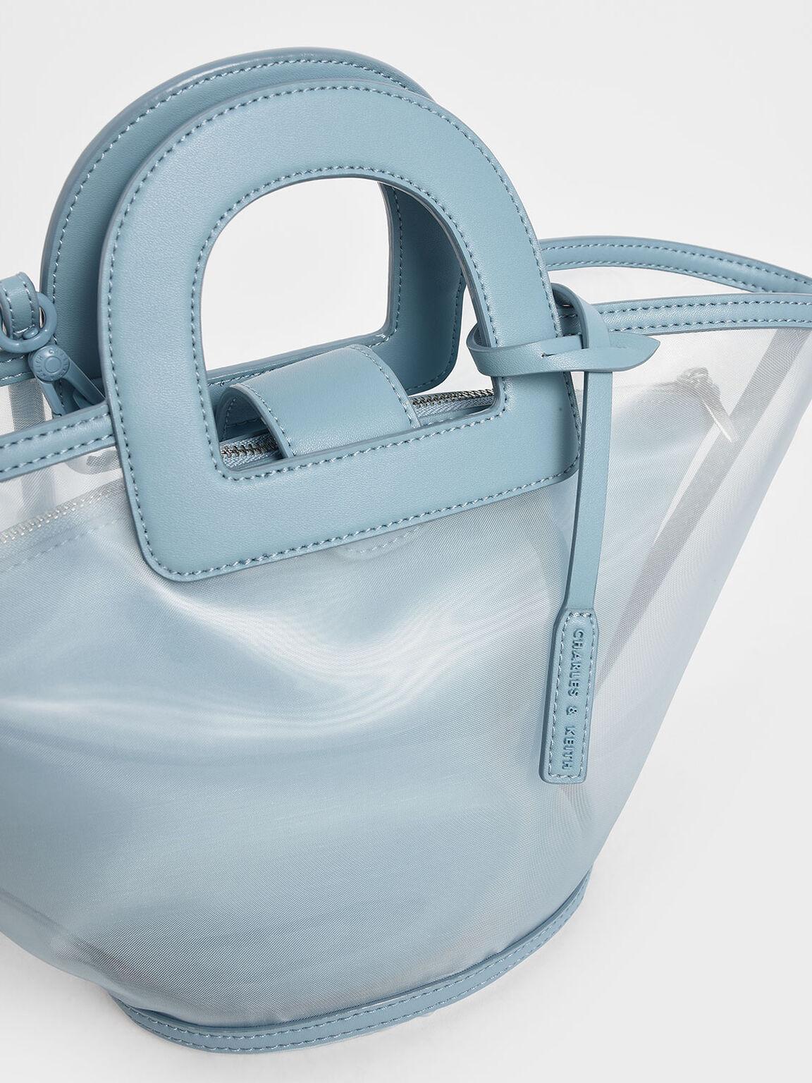 Mesh Trapeze Bag, Blue, hi-res