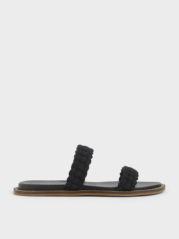 Rope Slide Sandals, Black, hi-res
