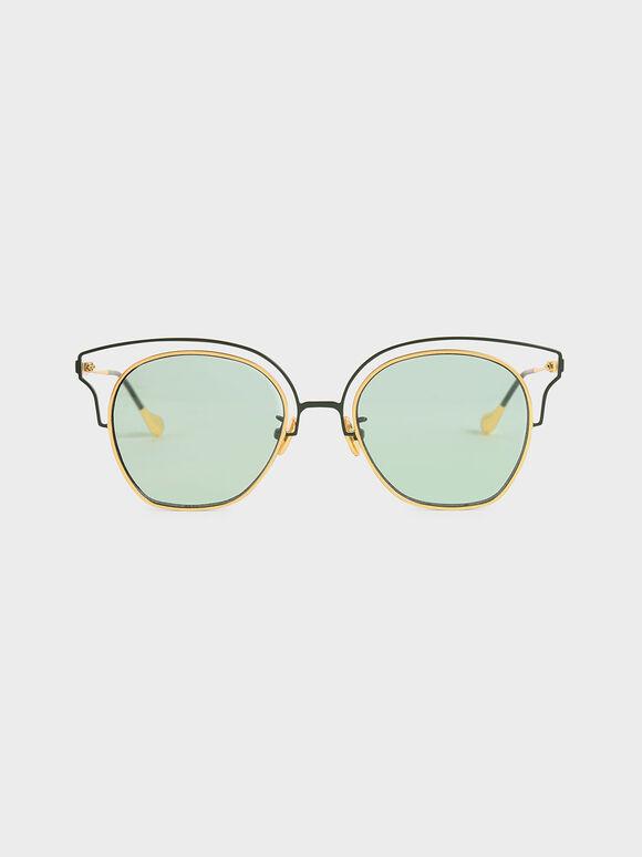 Cut-Out Tinted Sunglasses, Green, hi-res