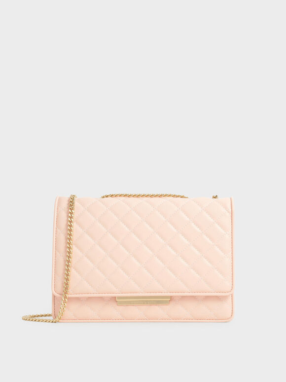 Quilted Chain Bag, Light Pink, hi-res