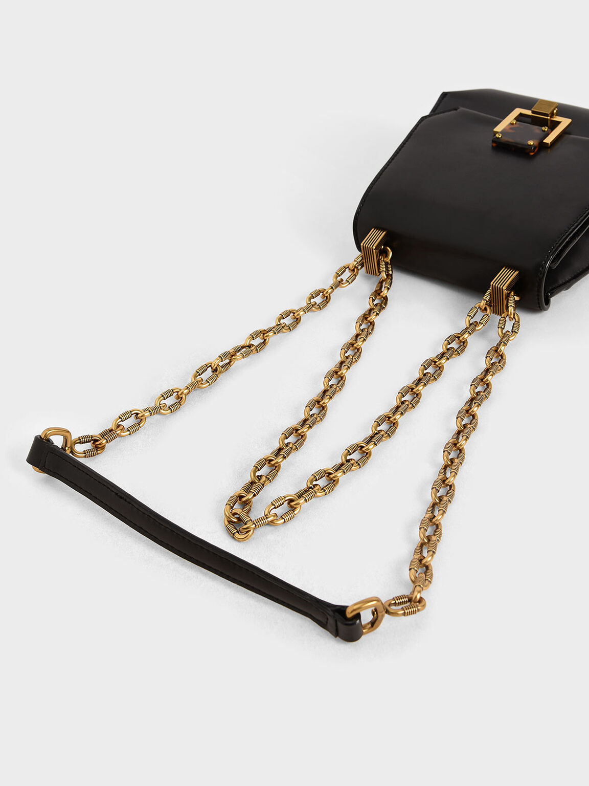 Metallic Accent Geometric Crossbody Bag, Black, hi-res