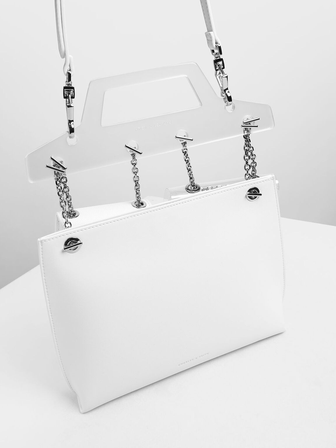 Chain Link Triple-Compartment Bag, White, hi-res