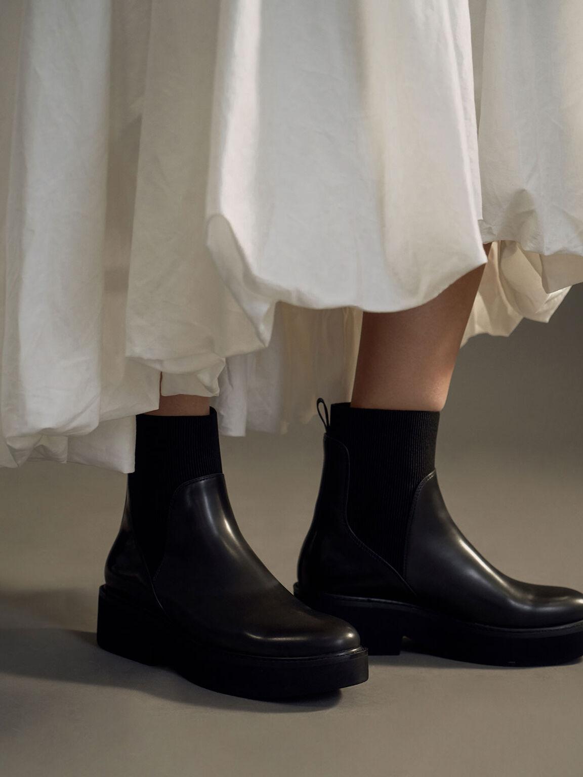 Ankle Sock Boots, Black, hi-res