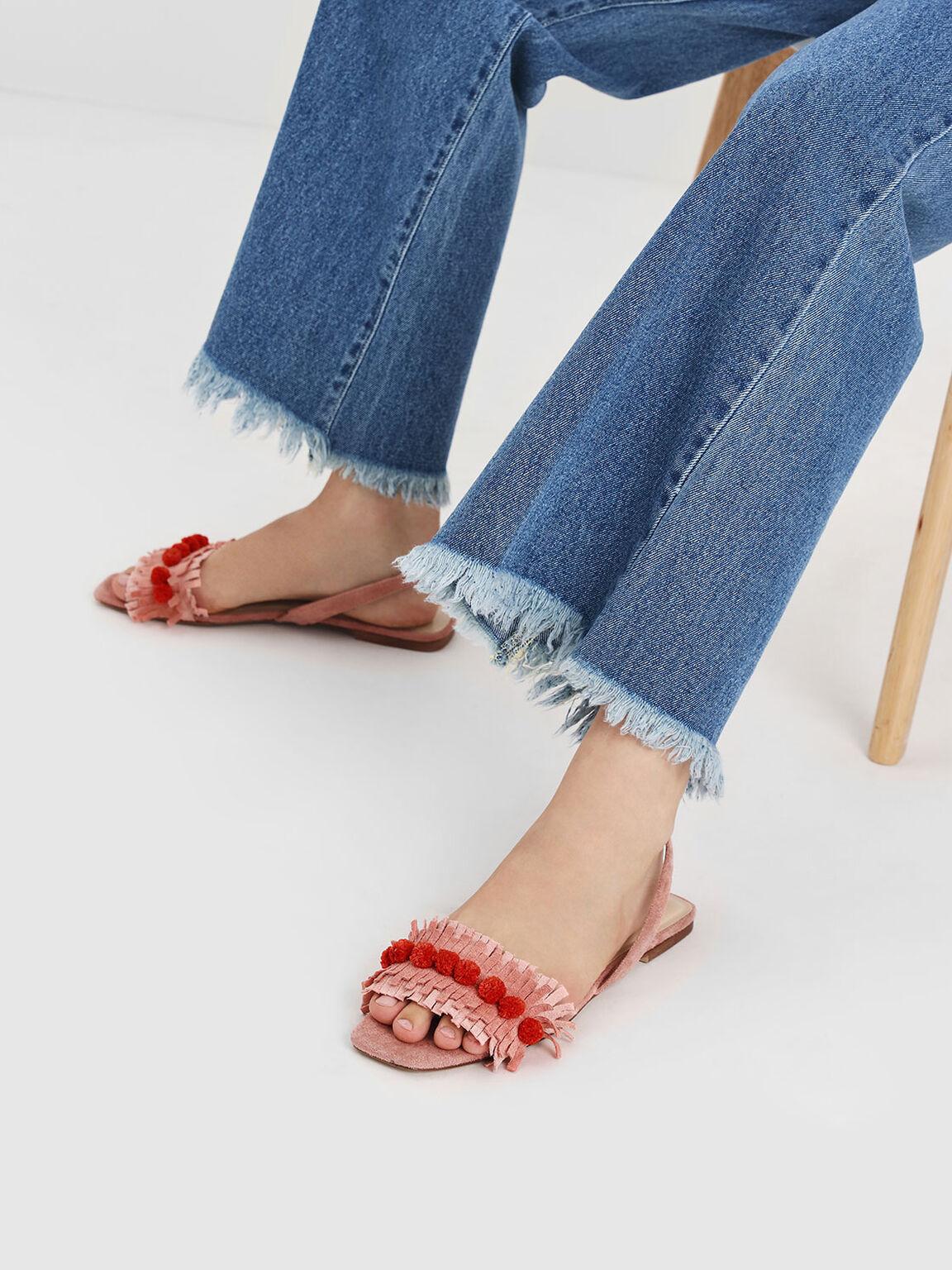 Fringed Pom Pom Sandals, Coral Pink, hi-res