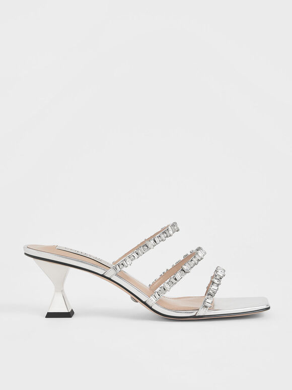 Wedding Collection: Gem-Encrusted Metallic Strappy Sandals, Silver, hi-res