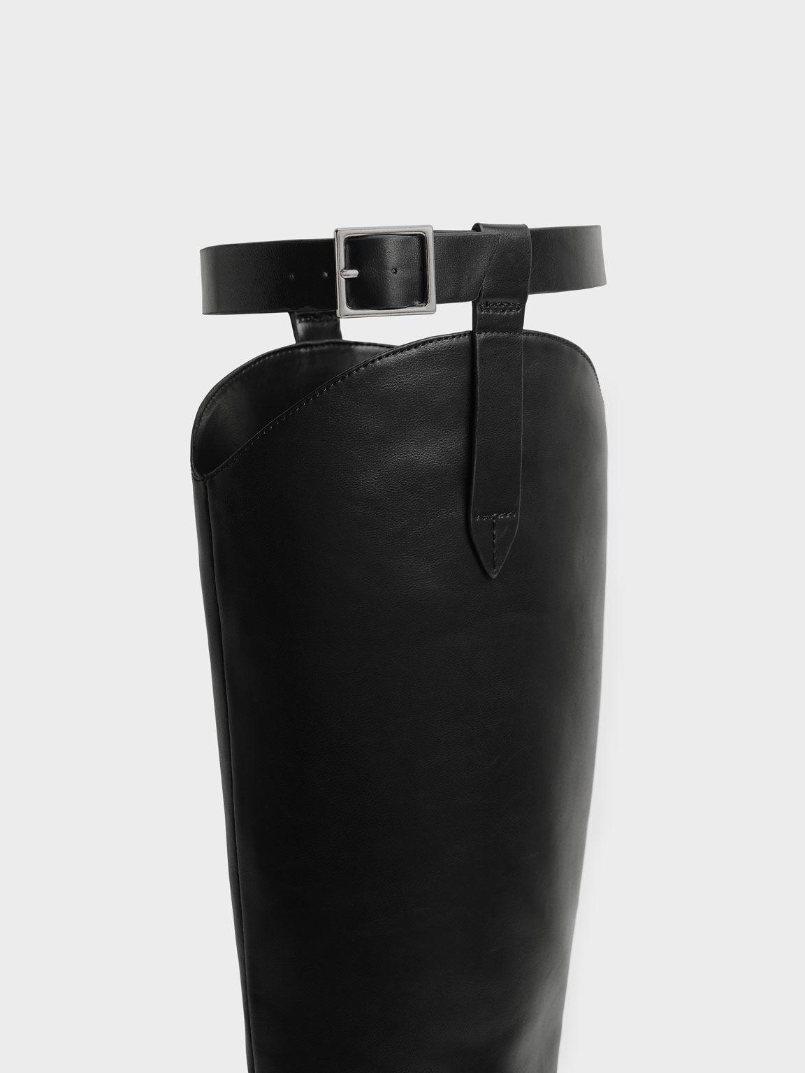 Buckled Knee Boots, Black, hi-res
