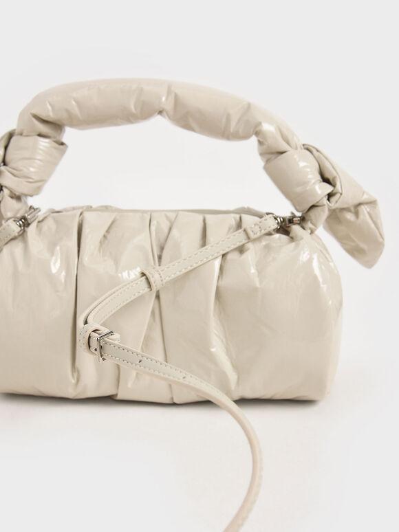 Patent Knotted Shoulder Bag, Beige, hi-res