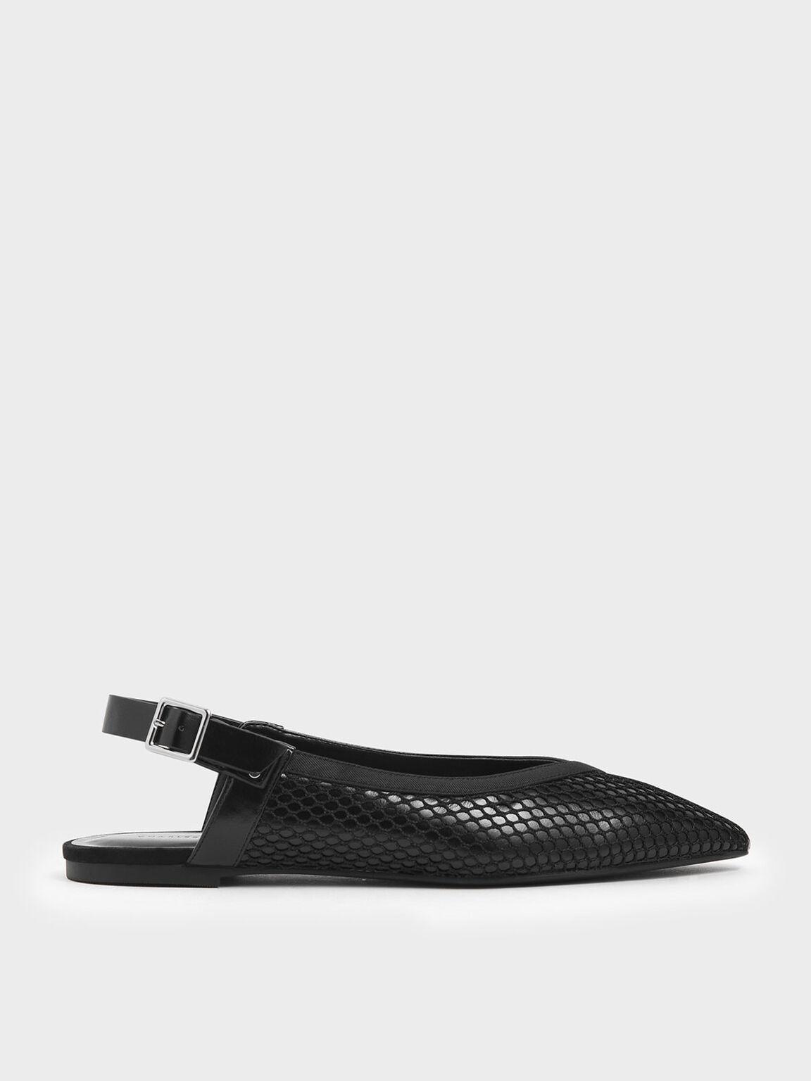 Mesh Pointed Toe Slingback Flats, Black, hi-res