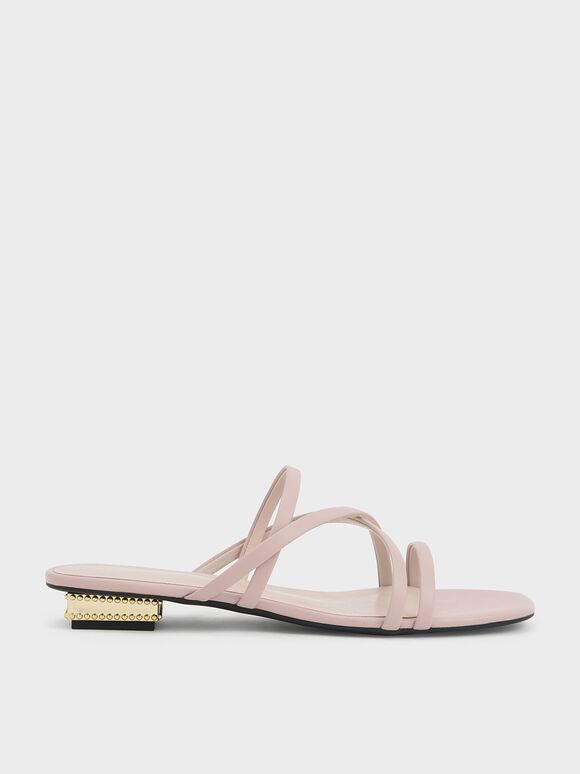 Strappy Sculptural Heel Sandals, Light Pink, hi-res