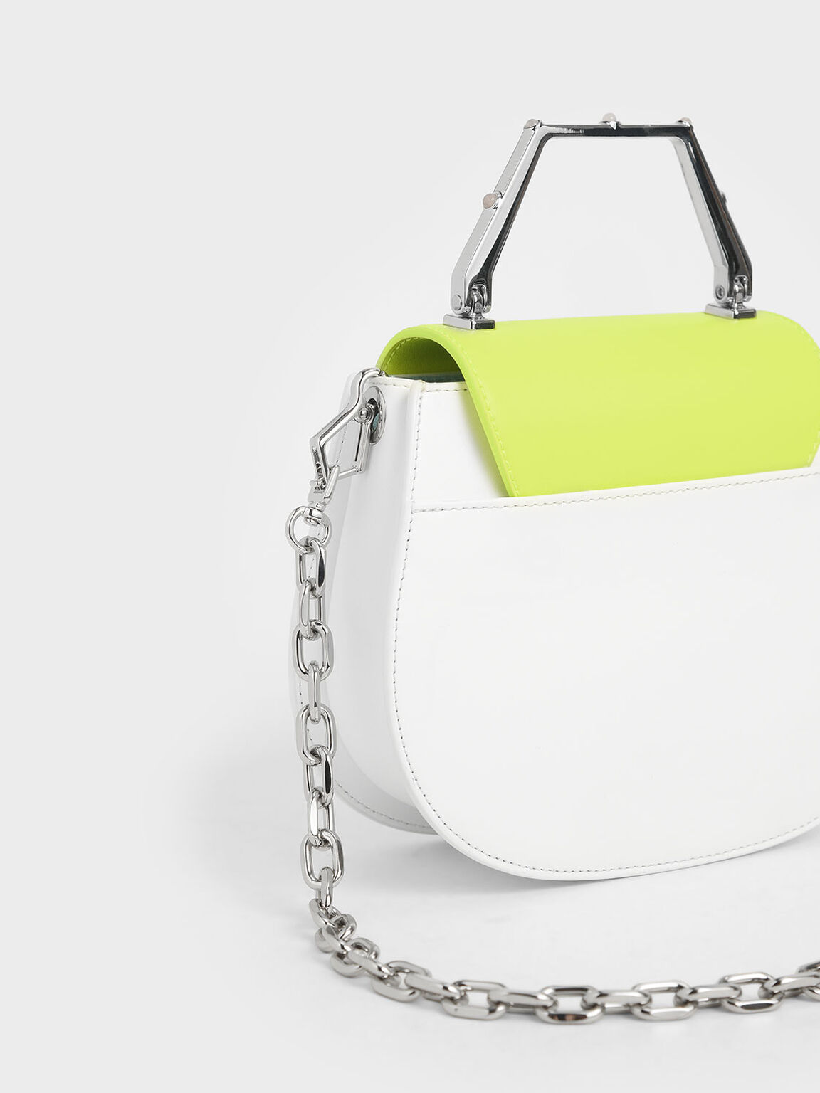 Geometric Top Handle Saddle Bag, White, hi-res
