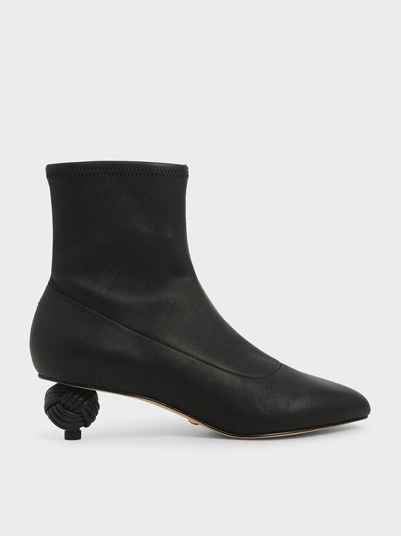 Leather Sculptural Heel Ankle Boots, Black, hi-res