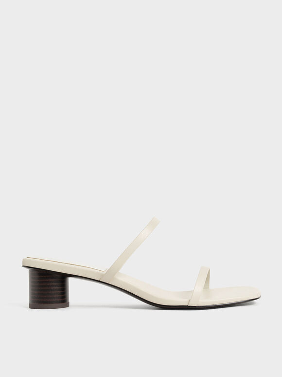 Double Strap Cylindrical Heel Mules, Chalk, hi-res