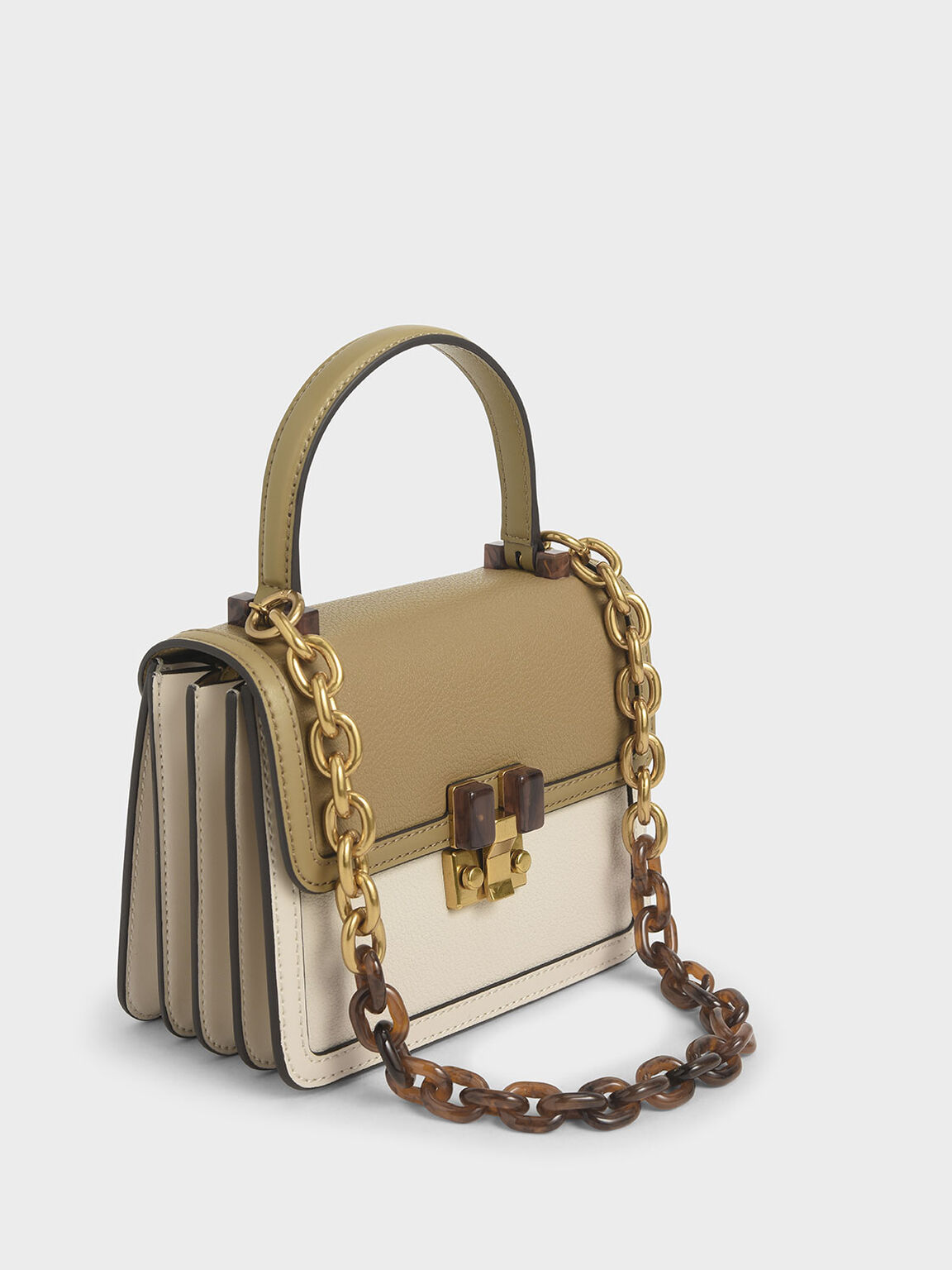 Small Chunky Chain Strap Bag, Cream, hi-res