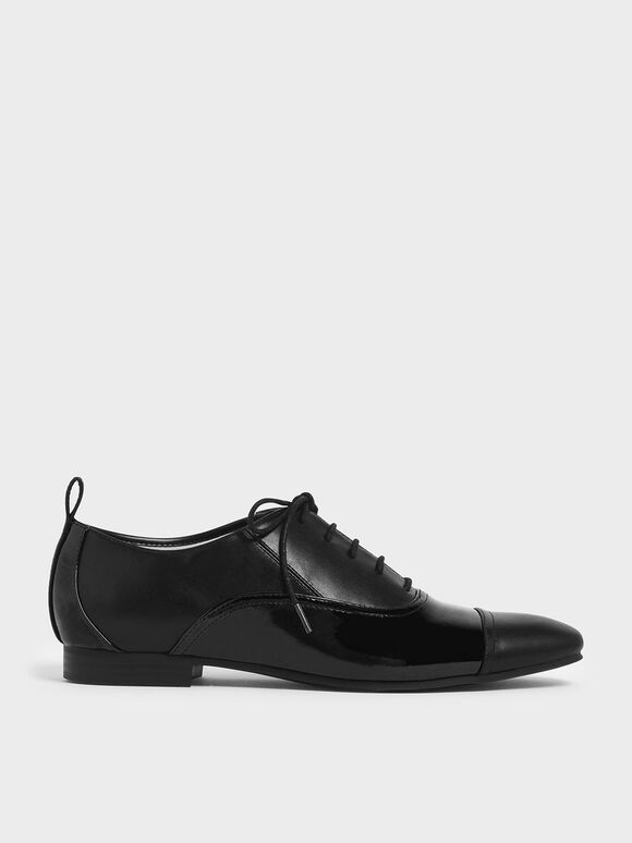 Wrinkled Patent Mesh Oxford Shoes, Black, hi-res