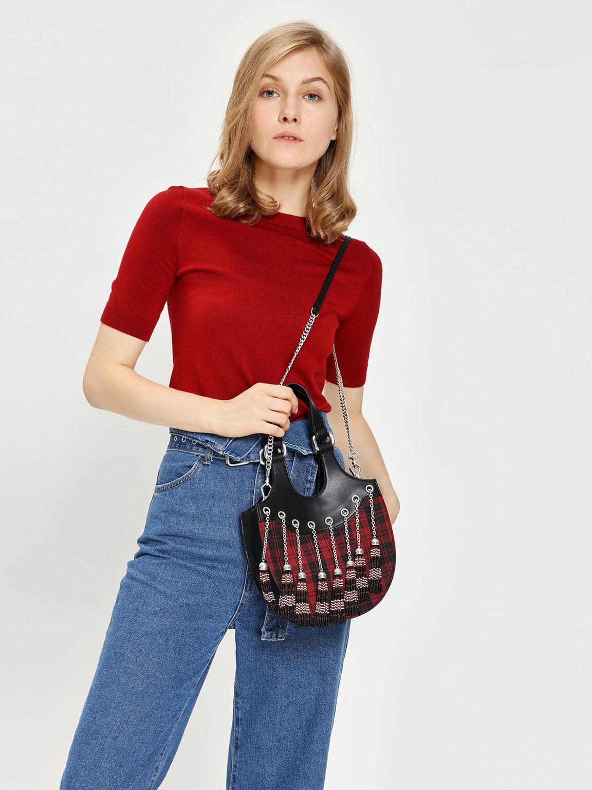 Tassel Detail Hobo Bag, Multi, hi-res