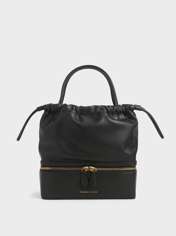 Two-Way Zip Drawstring Bag, Black, hi-res