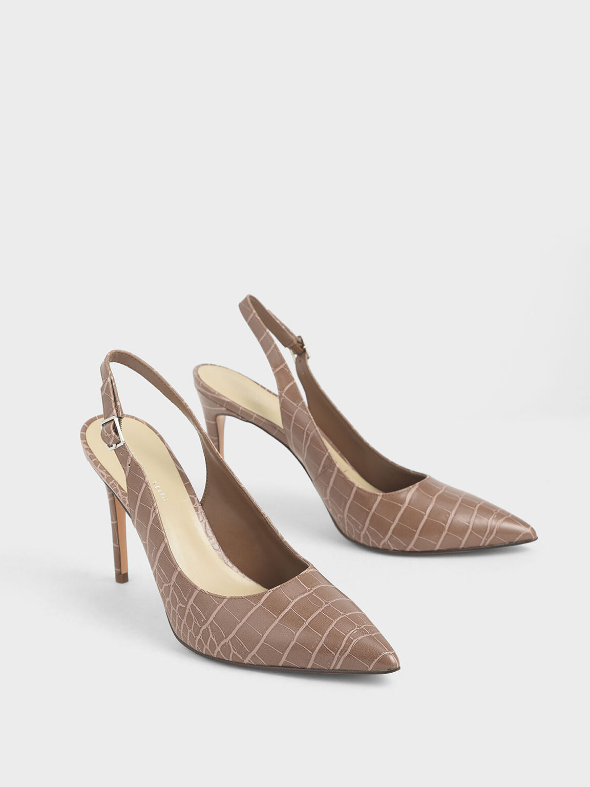 Croc-Effect Stiletto Slingback Pumps, Brown, hi-res