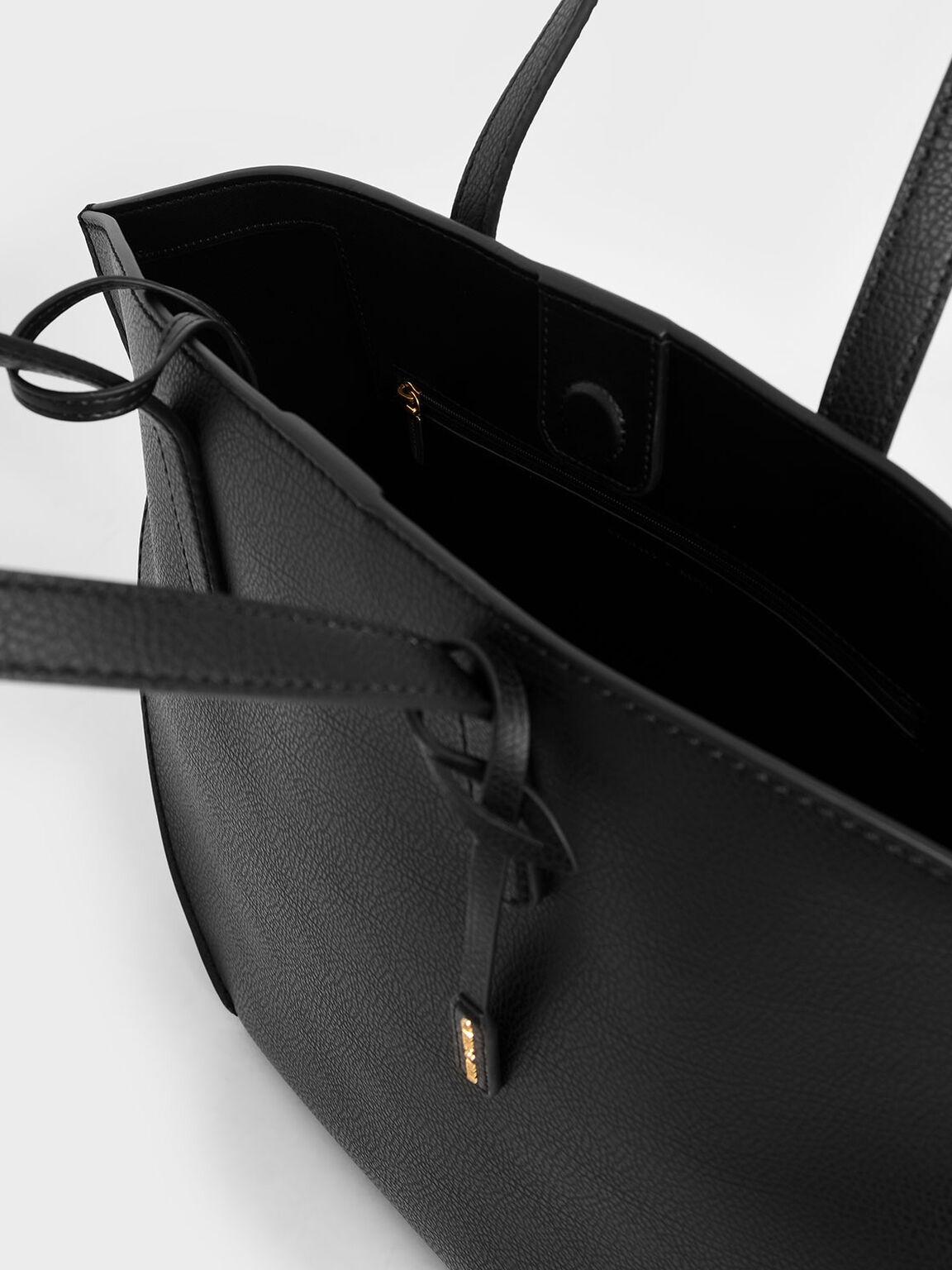 Large Geometric Tote Bag, Black, hi-res