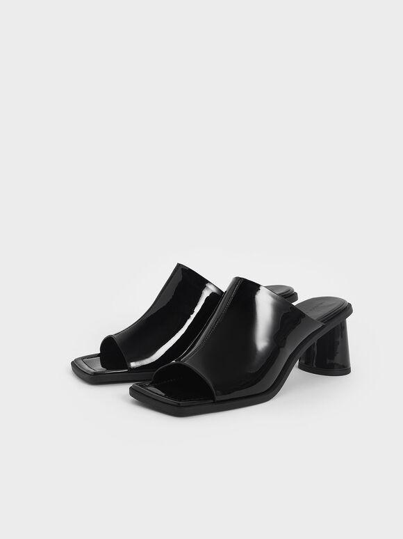 Peep Toe Patent Mules, Black, hi-res