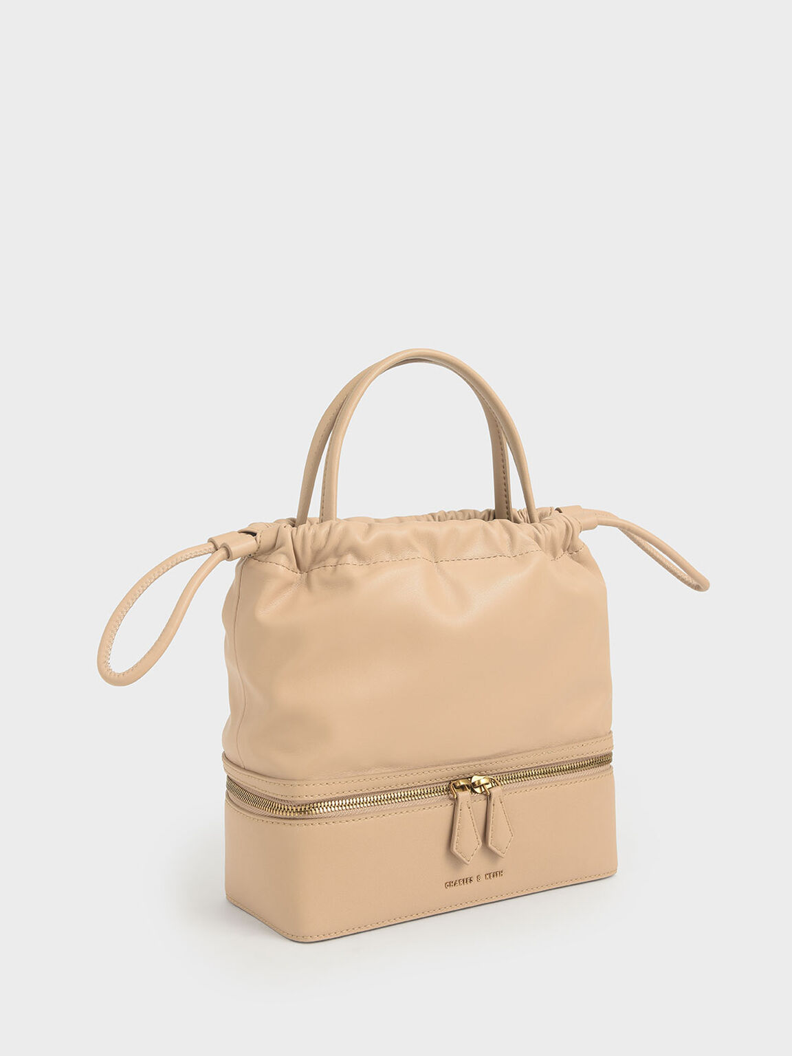 Two-Way Zip Drawstring Bag, Beige, hi-res