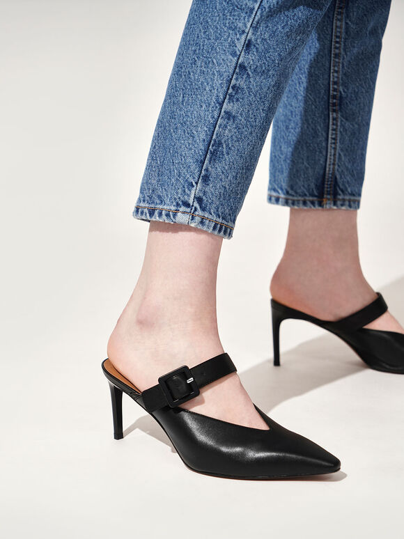 Mary Jane Strap Stiletto Mules, Black, hi-res