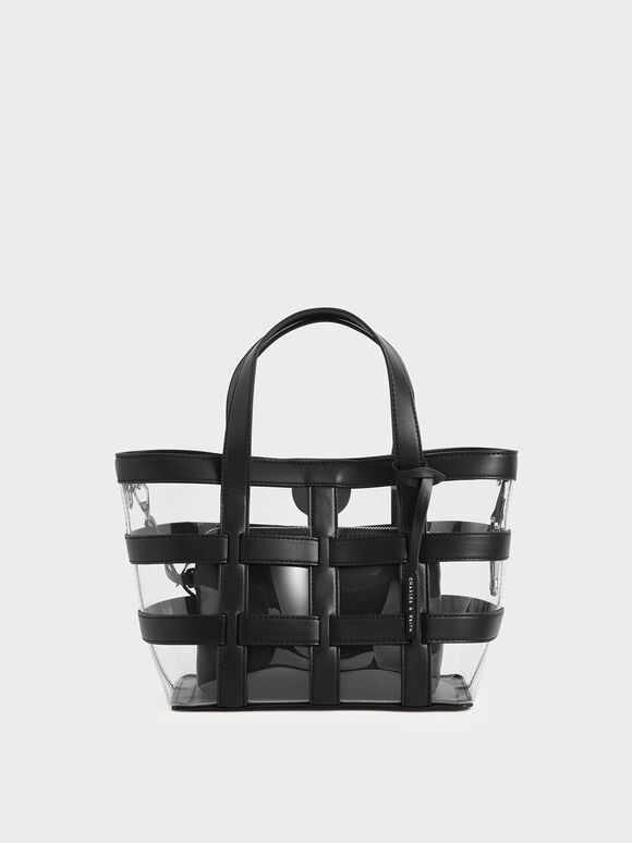 Caged See-Through Tote Bag, Black Textured, hi-res