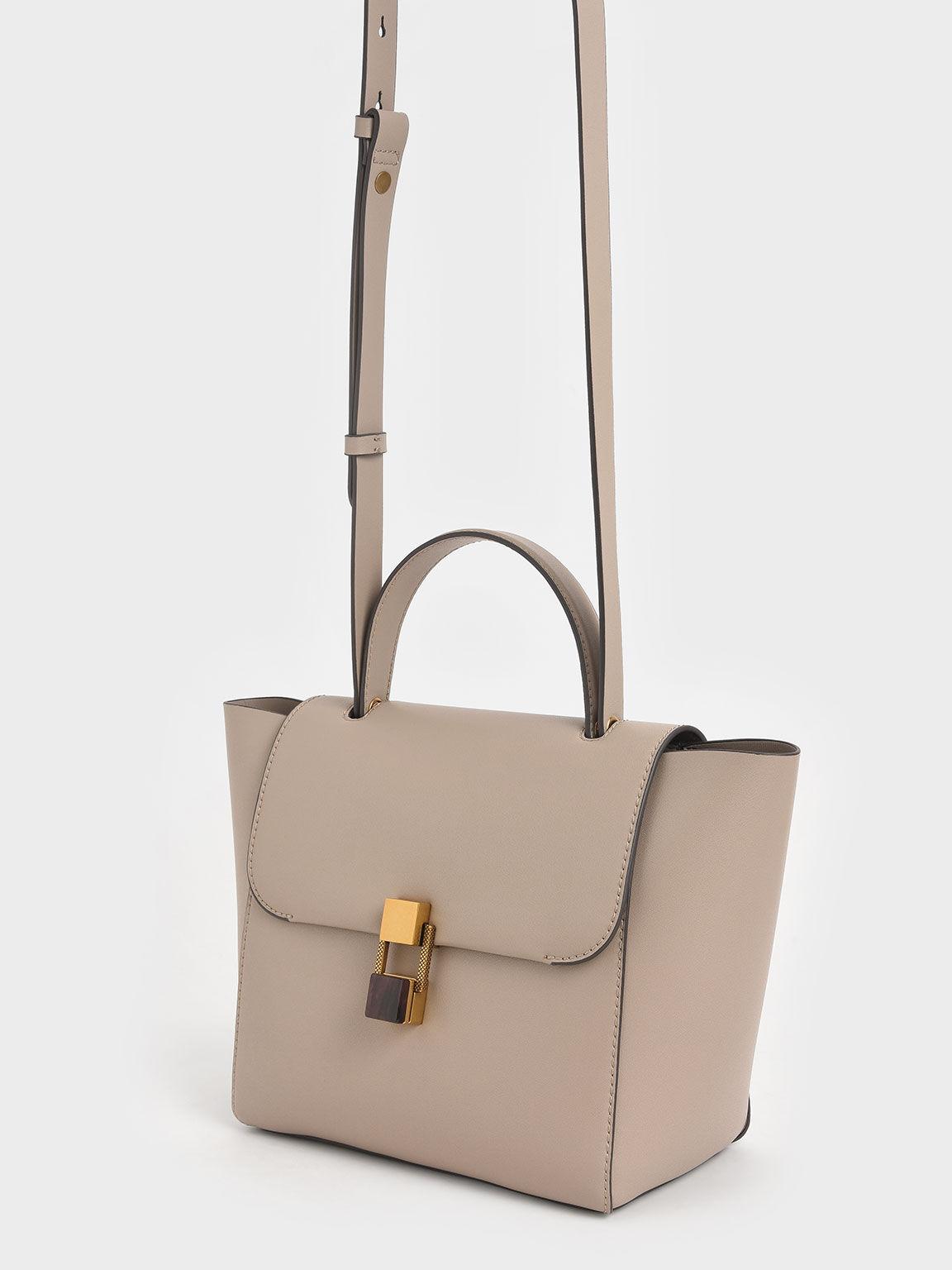 Stone-Embellished Trapeze Bag, Taupe, hi-res