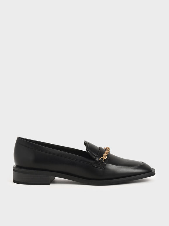 Metallic Accent Penny Loafers, Black, hi-res
