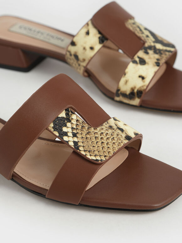 Leather Cut Out Mules, Brown, hi-res