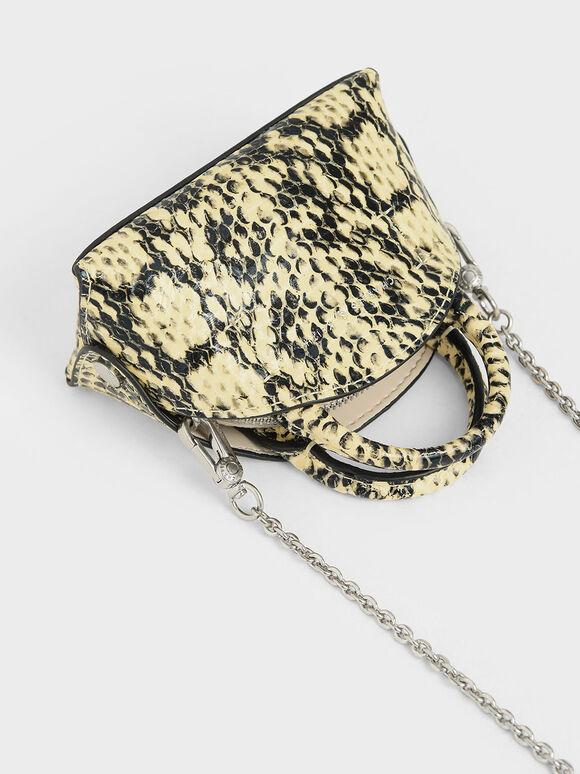 Snake Print Mini Dome Pouch, Yellow, hi-res